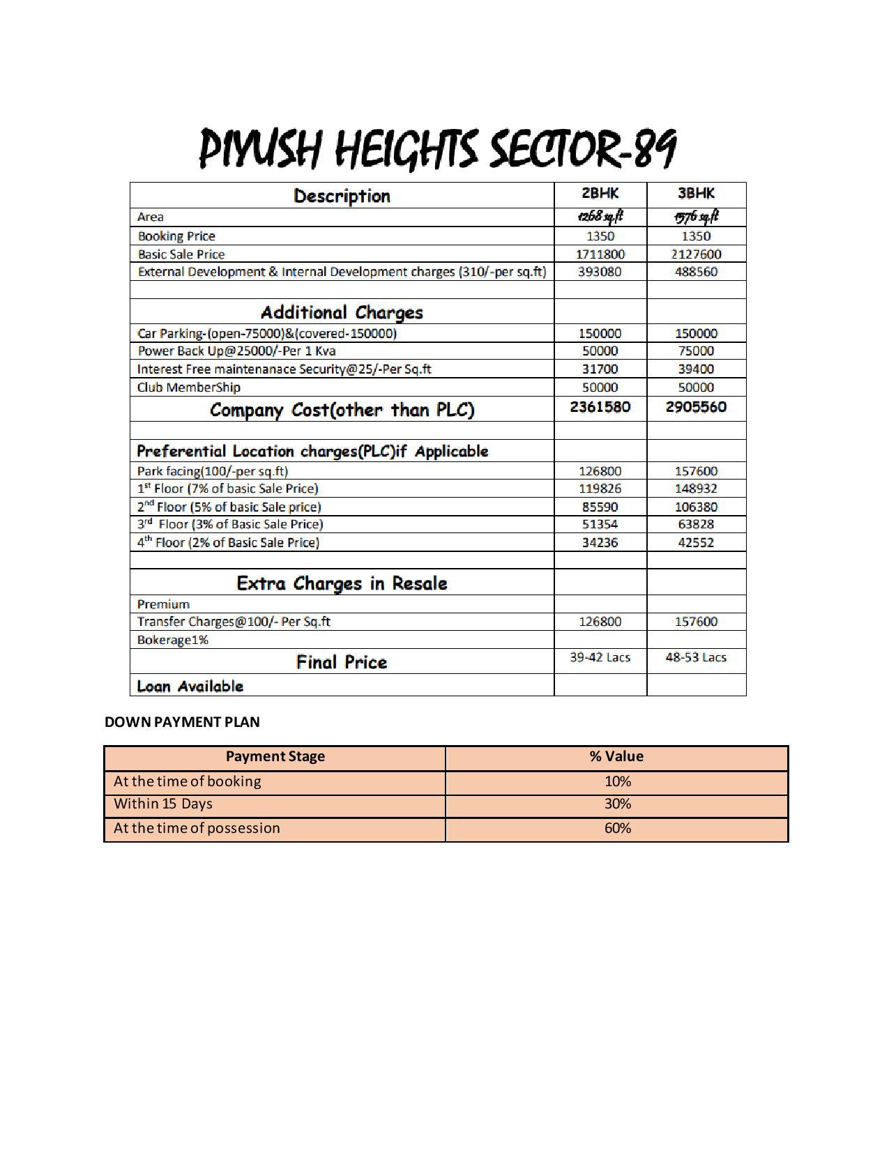 piyush heights price list
